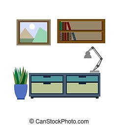 Stylish furniture for living room colorful vector poster -...