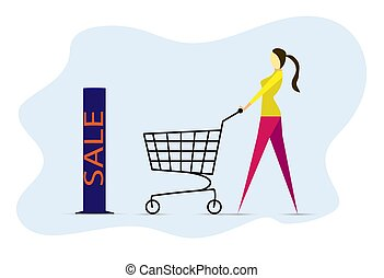stylish girl comes with an empty cart to the store with discounts.