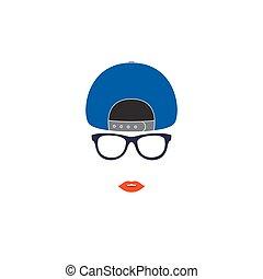 Stylish girl in baseball cap.