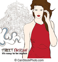 Stylish girl in red dress on the street vector illustration