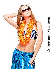 Stylish girl in sunglasses and bikini posing on white background