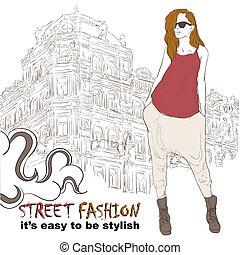 Stylish girl on the street vector illustration