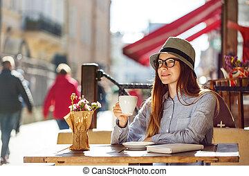 Stylish Girl with Coffee