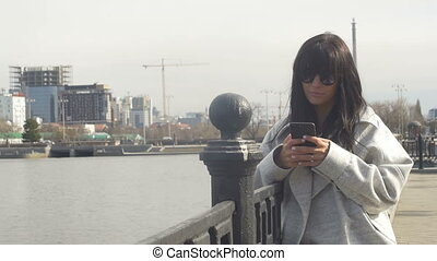 Stylish girl with phone