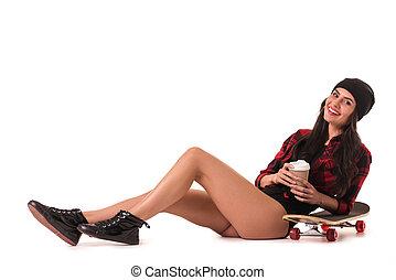 Stylish girl with skateboard