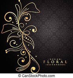 stylish golden floral on black background