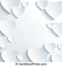 Stylish grey background with 3d paper hearts