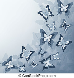 Stylish grey background with butterfly