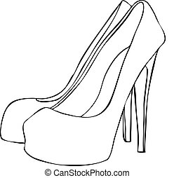 Isolated vector illustration sketch, hand drawn, of a pair of female high heeled stiletto shoes. Can be resized and coloured in.
