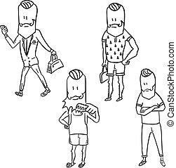 Stylish hipster man doodle set
