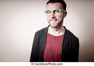 stylish hipster man portrait