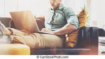 Stylish Hipster working Laptop modern Interior Design Loft...