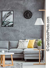 Stylish home decor with gray wall