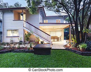 Stylish Australian home at dusk