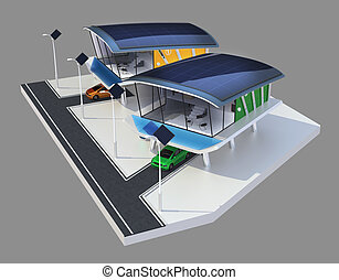 Stylish houses with solar panel