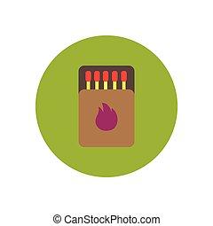 stylish icon in circle Matchbox and matches - stylish icon...