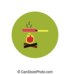 stylish icon in circle Pan with fire