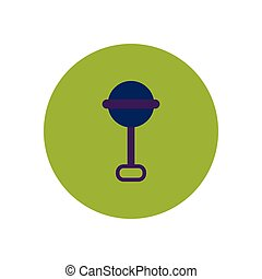 stylish icon in color circle baby rattle