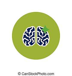 stylish icon in color circle brain stroke
