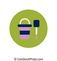 stylish icon in color circle bucket shovel