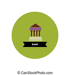 stylish icon in color circle building bank