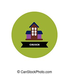stylish icon in color circle building church