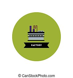 stylish icon in color circle building factory