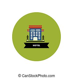stylish icon in color circle building hotel