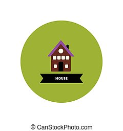 stylish icon in color circle building house