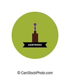 stylish icon in color circle building lighthouse