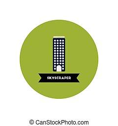 stylish icon in color circle building skyscraper