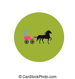 stylish icon in color circle carriage with horse