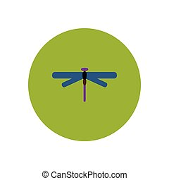 stylish icon in color circle dragonfly insect