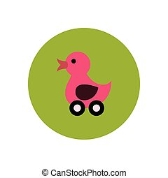 stylish icon in color circle duck toy