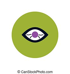 stylish icon in color circle eye problems