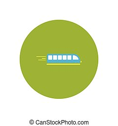 stylish icon in color circle high-speed train