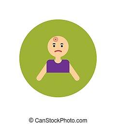 stylish icon in color circle man headache