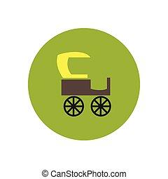 stylish icon in color circle retro carriage