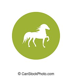 stylish icon in color circle silhouette running horse