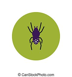 stylish icon in color circle spider insect