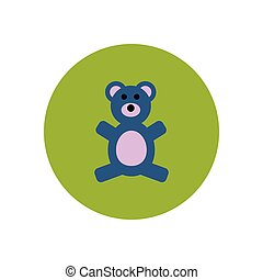 stylish icon in color circle toy bear