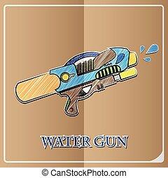 stylish icon in paper sticker style water gun