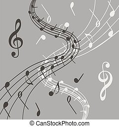 Stylish illustration of music notes on grey background for slogan, poster, flier or etc.