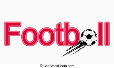 Stylish illustration of the inscription of the word football. Green colour. Soccer ball instead of letters. Sign, symbol