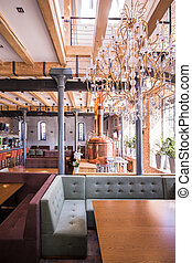 Stylish interior of fashionable restaurant