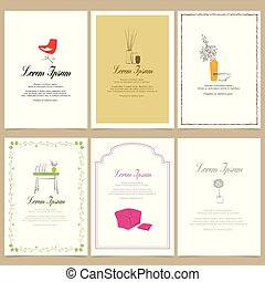 stylish interior, square cards illustration templates. design for event cards
