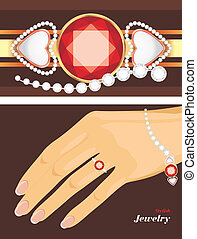 Stylish jewelry. Bracelet and ring