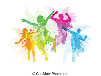 Jumping People - Stylish Jumping People - vector...