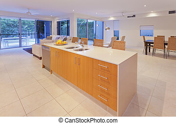 Stylish kitchen and living area