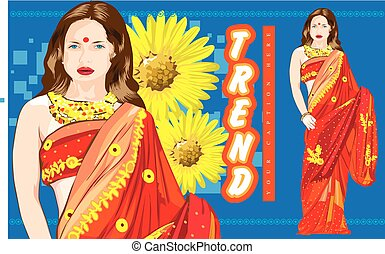 Stylish lady garment model wear red saree in front of sunflower background